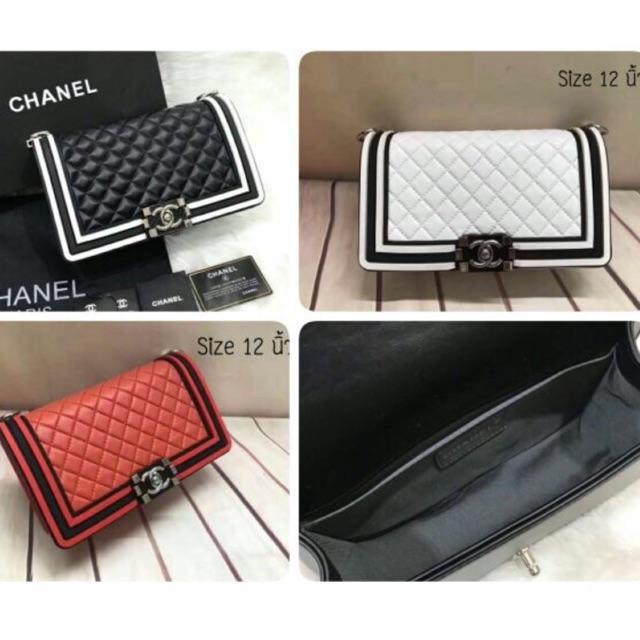 """(มือสอง) กระเป๋าสะพาย Chanel Boy 12"""" งาน Hi end ว่าง แดง"""