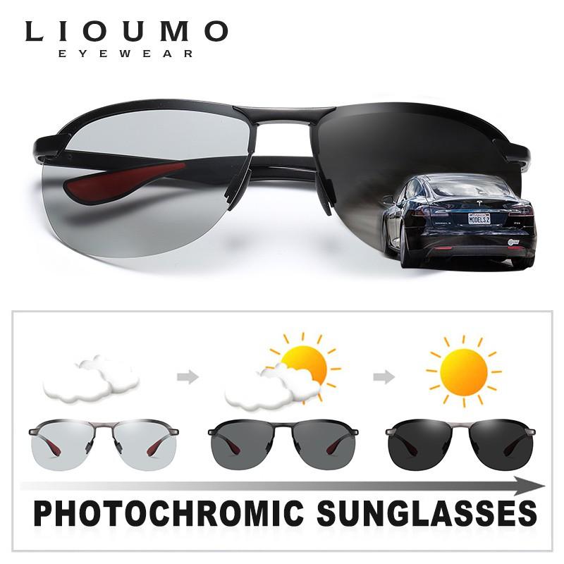 เลดี้แว่นกันแดด▬US $13.15 60% OFF|LIOUMO Brand Rimless Photochromic Sunglasses Men Polarized Chameleon Glasses Women Dr