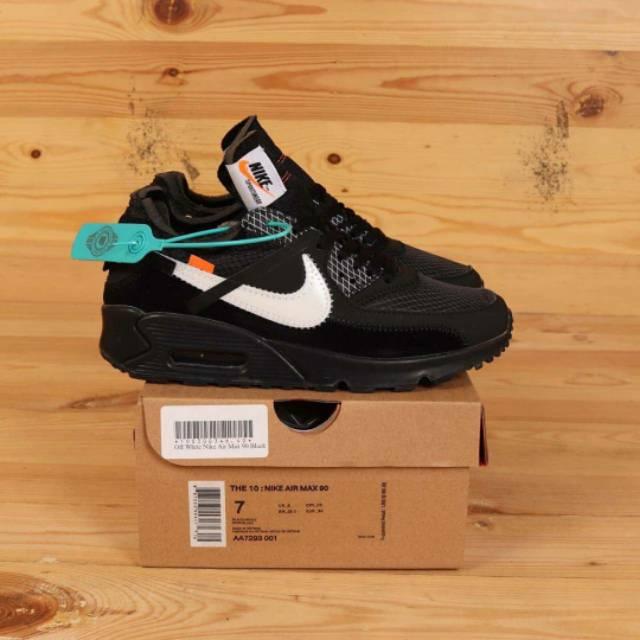 Off White Nike Airmax 90 รองเท้าผ้าใบลําลองสีขาวสีดํา