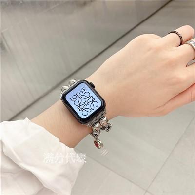 applewatch6 เข็มขัด✟หรูหราเหมาะสำหรับสาย Apple applewatch6 iwatch12345 รุ่นห่วงโซ่นาฬิกาโลหะเครื่องประดับลูกปัด se