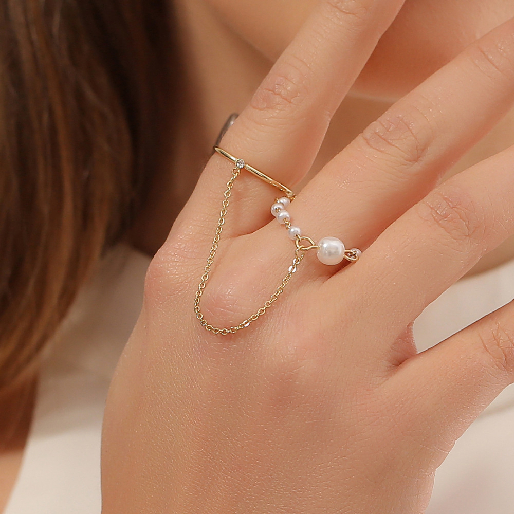 ใหม่ชุดแหวนโซ่แฟชั่นสร้างสรรค์หวานชิ้นเดียวแหวนมุกหญิง แหวนอินฟินิตี้ แหวนพระ เครื่องประดับ แหวน แหวนทอง1สลึง