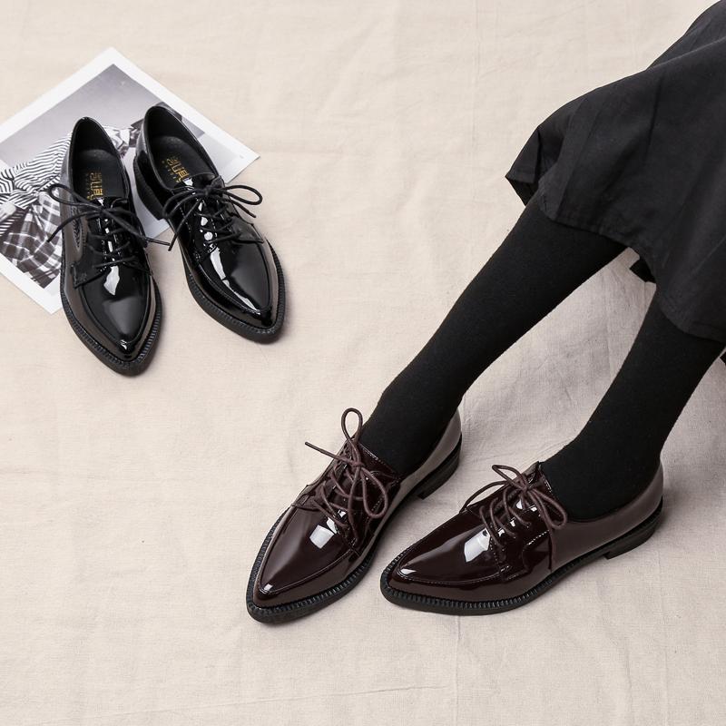 รองเท้าคัชชูหัวแหลม รองเท้าขนาดเล็กหญิง313233หนากับรองเท้าเดียวหญิงรองเท้าทำงานสีดำสีอ่อนรองเท้าหนังขนาดเล็กหญิงรองเท้าล