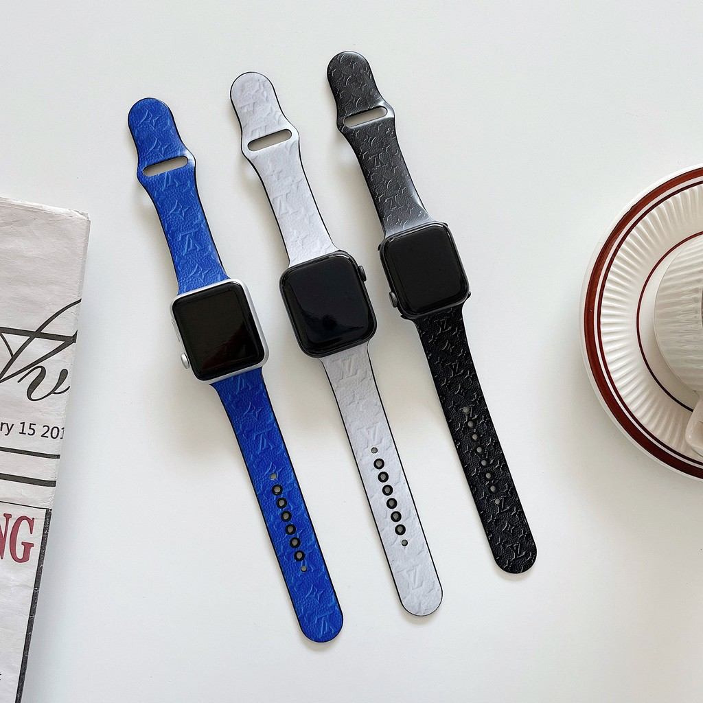 Trendy brand Apple Watch strap Printed strap Apple iWatch series 40mm 44mm5/6/SE replacement wrist strap Rubber strap 1/2/3