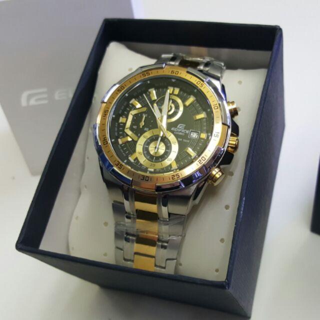 รุ่นใหม่ !! New Casio นาฬิกาข้อมือชาย สายสแตนเลส รุ่น EFR-539SG-1A Silver/gold รับประกัน 1 ปี(ของแท้100% ประกันCMG) DJPW
