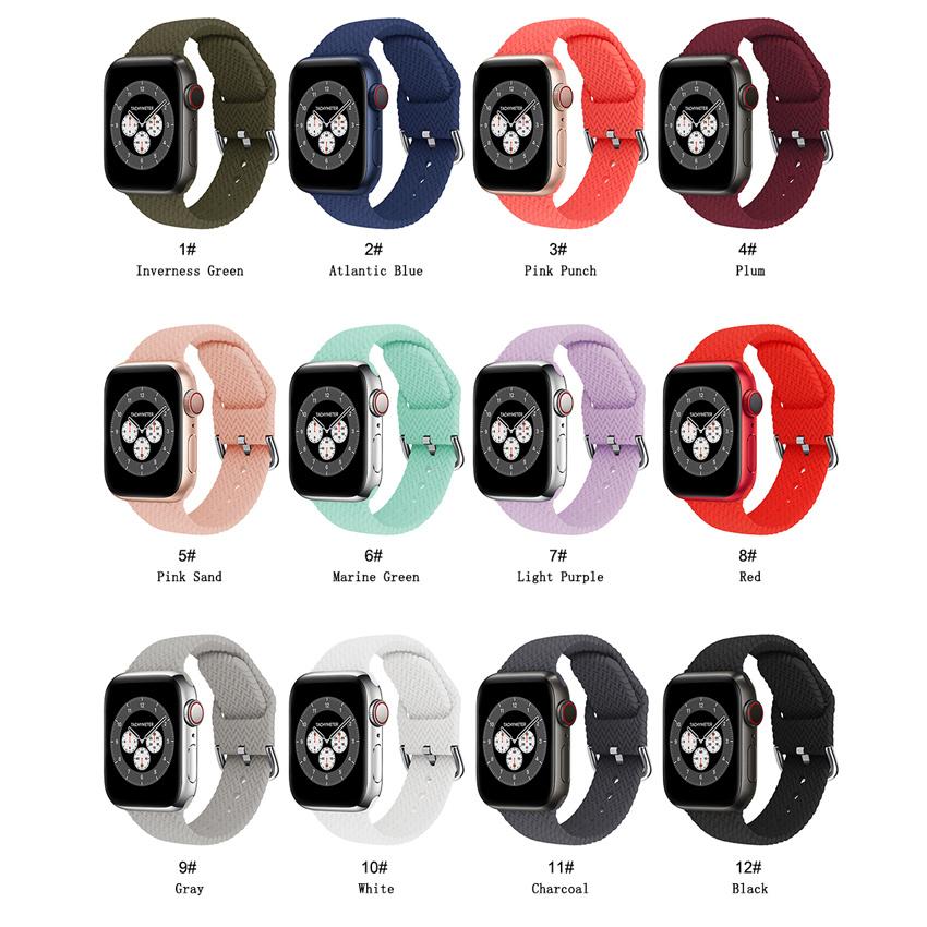 สายนาฬิกาข้อมือไนล่อนยืดหยุ่นสําหรับ Apple Watch Silicone Band 44 40 38 42 มม . Iwatch Series Se 6 5 4 3 2 1
