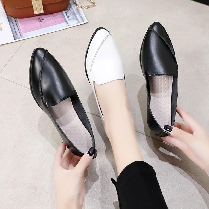 รองเท้าหัวแหลม🍒 รองเท้าผู้หญิงแฟชั่น รองเท้ากันลื่น รองเท้าคัชชู รุ่นหนัง🍒 ส้นแบนหัวแหลม 🍒 รองเท้าส้นแบน รองเท้าคัชชู