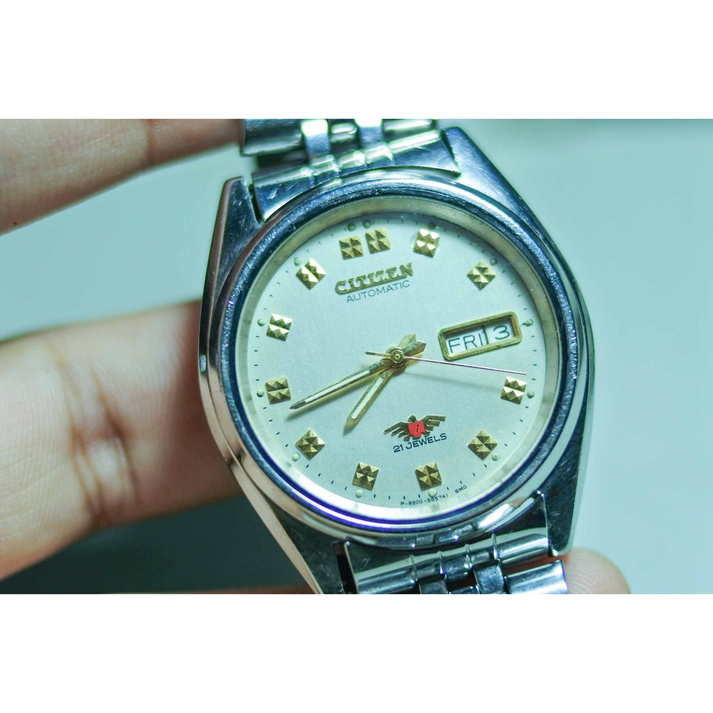 Vintage Citizen Seven 21Jewel Automatic นาฬิกา ของแท้ มือสอง ญี่ปุ่น Light Gray Color 37 mm Round