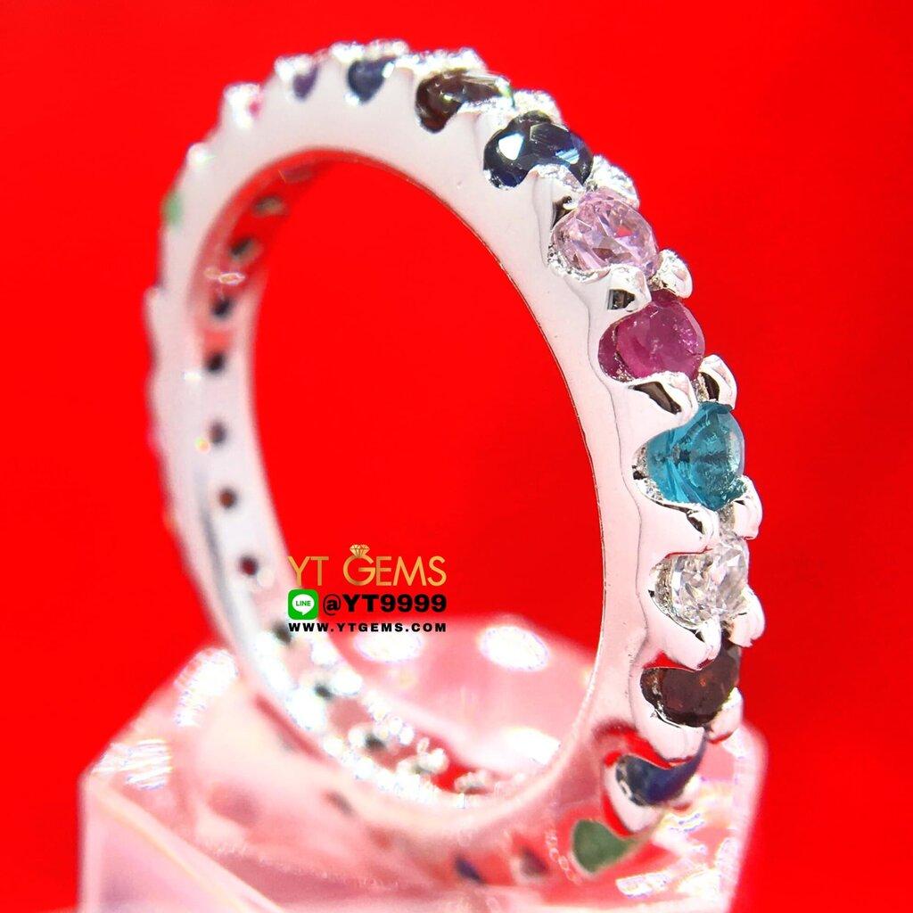 แหวนพิรอดนพเก้า พลอยหลากสี แหวนเงินแท้ 92.5% ชุบทองคำขาว ประดับ พลอยหลากสี (พลอยแท้) หน้าแหวน 3 มม. แหวนแถวพลอยรอบวง ...