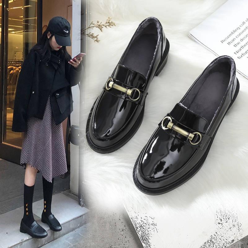 รองเท้าผู้หญิง รองเท้าคัชชู ร้องเท้า ❋รองเท้าหนังขนาดเล็กอังกฤษหญิงสีดำฤดูใบไม้ผลิแบนรองเท้าเดียว 2020 ใหม่ถั่วนุ่มรองเท