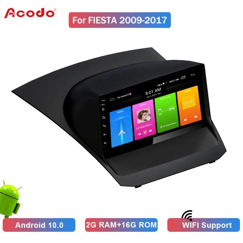 Ao 2 + 16 G Android 10 . 0 เครื่องเล่นมัลติมีเดียวิทยุในรถยนต์สําหรับ Ford Fiesta 2009-2017 Navigation Gps 2 Din