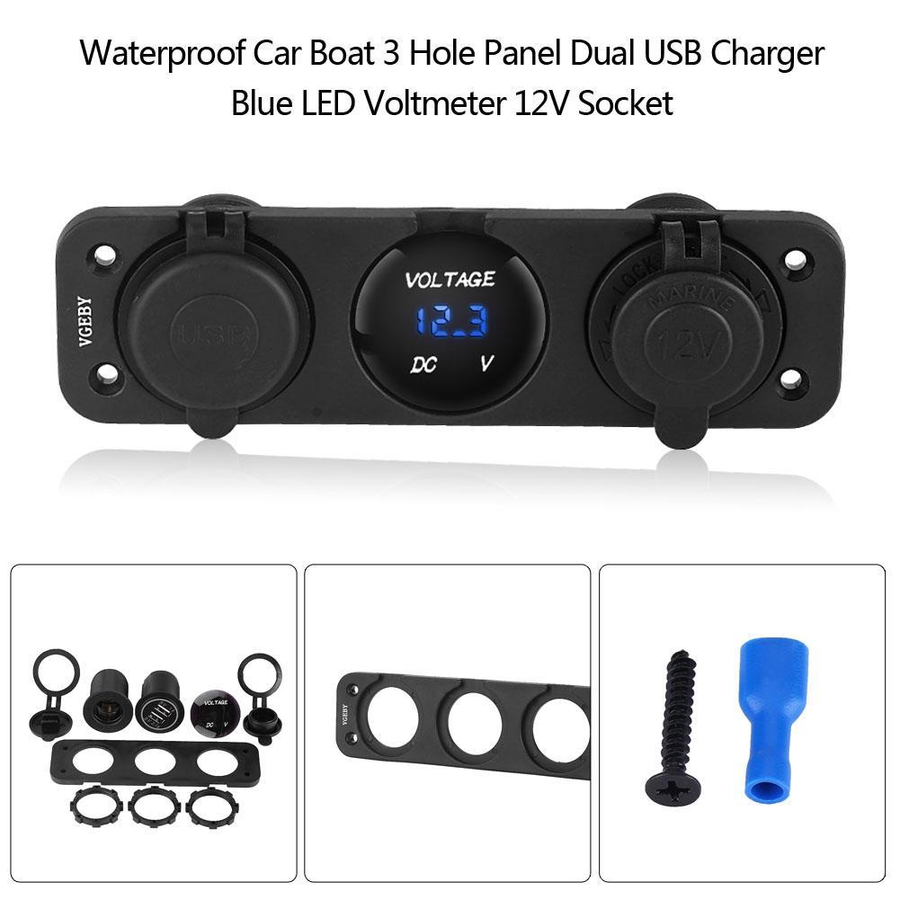 Dual USB Charger 3 Hole Panel Marine Car Boat Blue LED Voltmeter 12V Socket