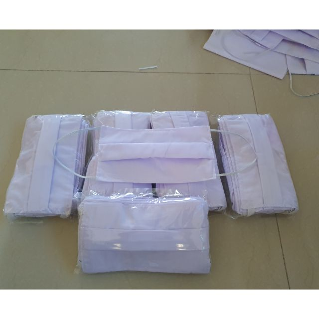 ผ้าปิดจมูก แบบผ้าสีขาวผ้า cottonพร้อมส่ง 50 แพ็ค เย็บละเอียด