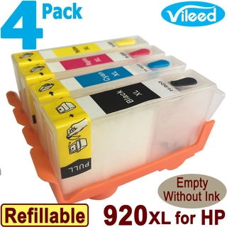[สต็อกประเทศไทย]4 Pack 920XL Refillable Empty Print Cartridge Compatible for HP Officejet  6000 7500A color Printer