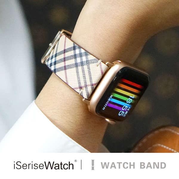 สาย applewatch ใช้ได้กับ applewatch6 สายรัดหนังตาหมากรุก Apple Watch รุ่นที่ 5 iwatch4 / se3 / 2 เข็มขัดตัวแทนหญิงและชาย