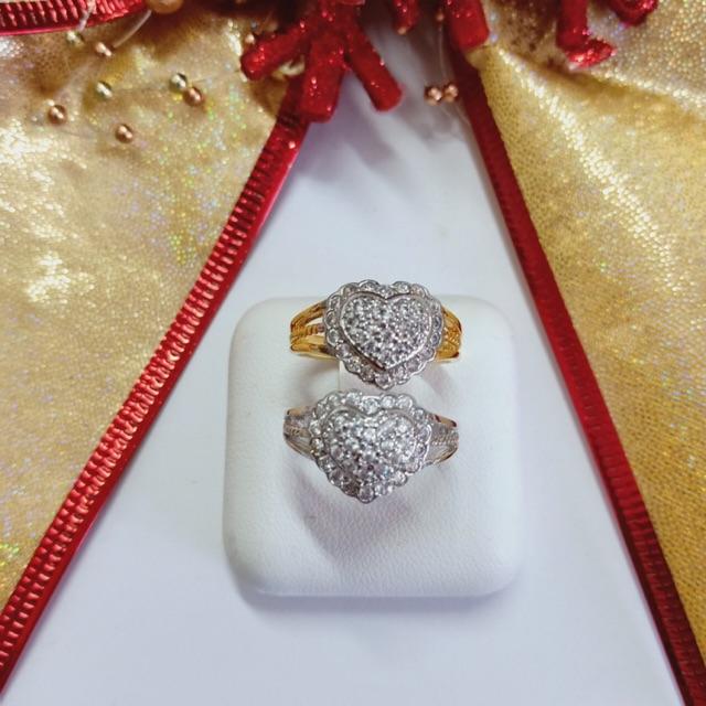 แหวน เพชร cz หัวใจ ชุบทองไมครอน และทองคำขาว ราคาพิเศษ