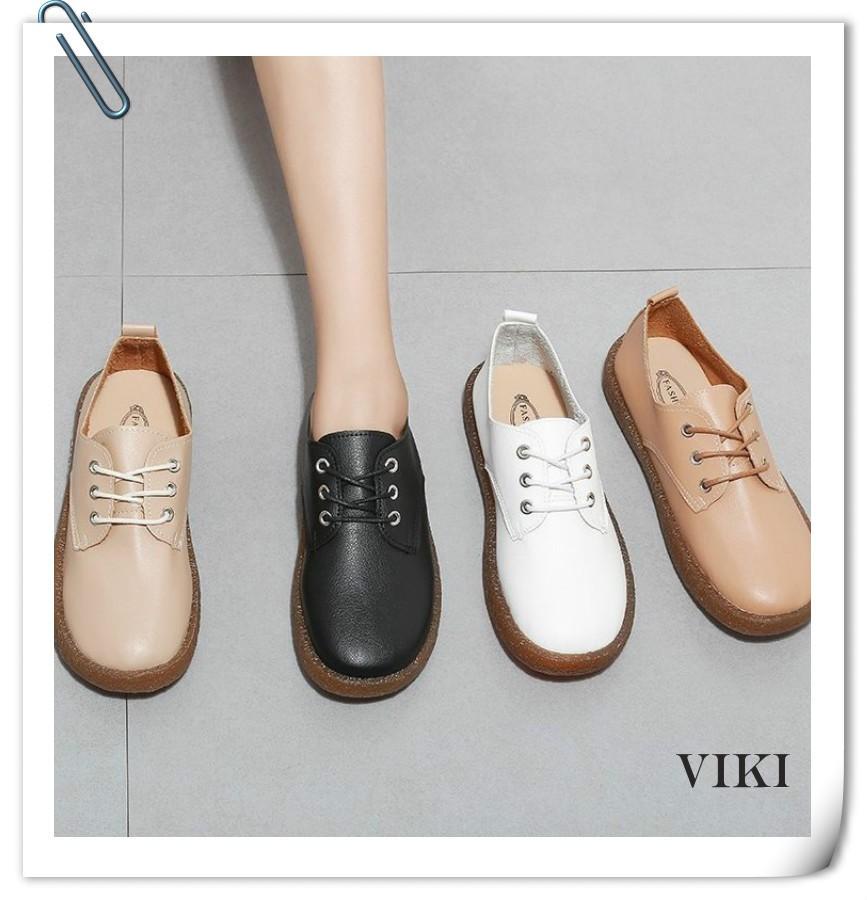 💕VIKI💕 รองเท้า รองเท้าลำลอง รองเท้าส้นแบน รองเท้านักเรียนหญิงสีดำ รองเท้าคัชชูผู้หญิง รองเท้าคัชชู รองเท้าเกาหลีผู้หญิง รองเท้าคัชชูแฟชั่น รองเท้าลำลองสตรี รองเท้าสุขภาพ แบบผูกเชือก