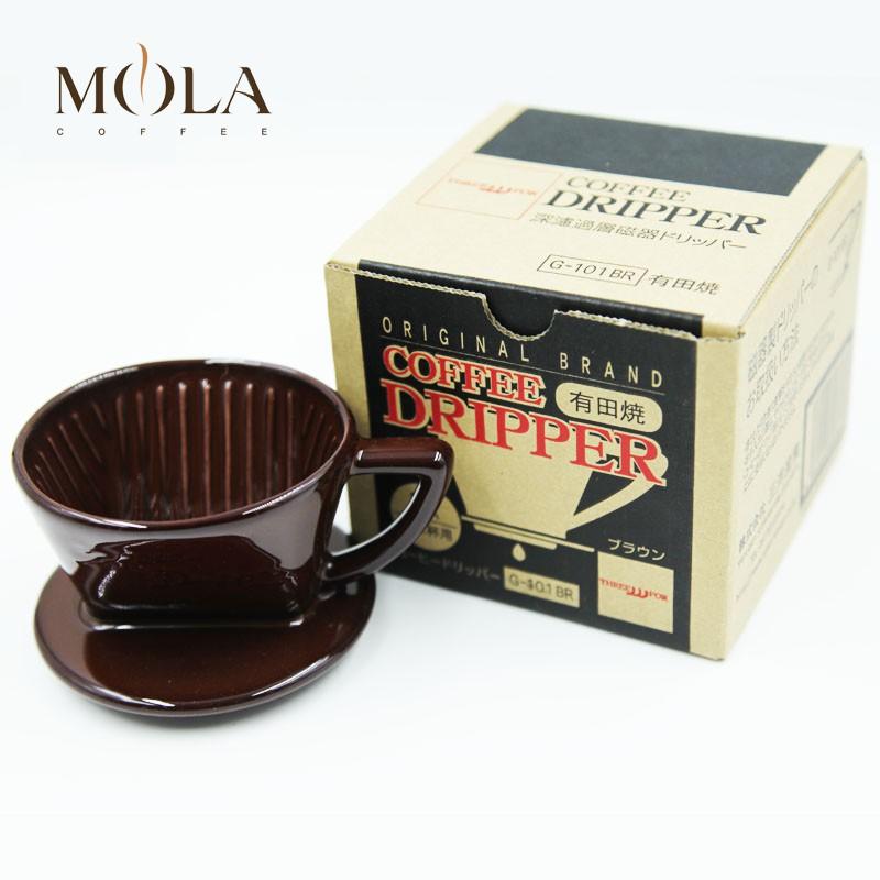 ●ツ      Japan Sanyo ถ้วยกรองกาแฟทำมือเครื่องใช้ในครัวเรือน Arita Yaki Ceramic Filter Drip 101102