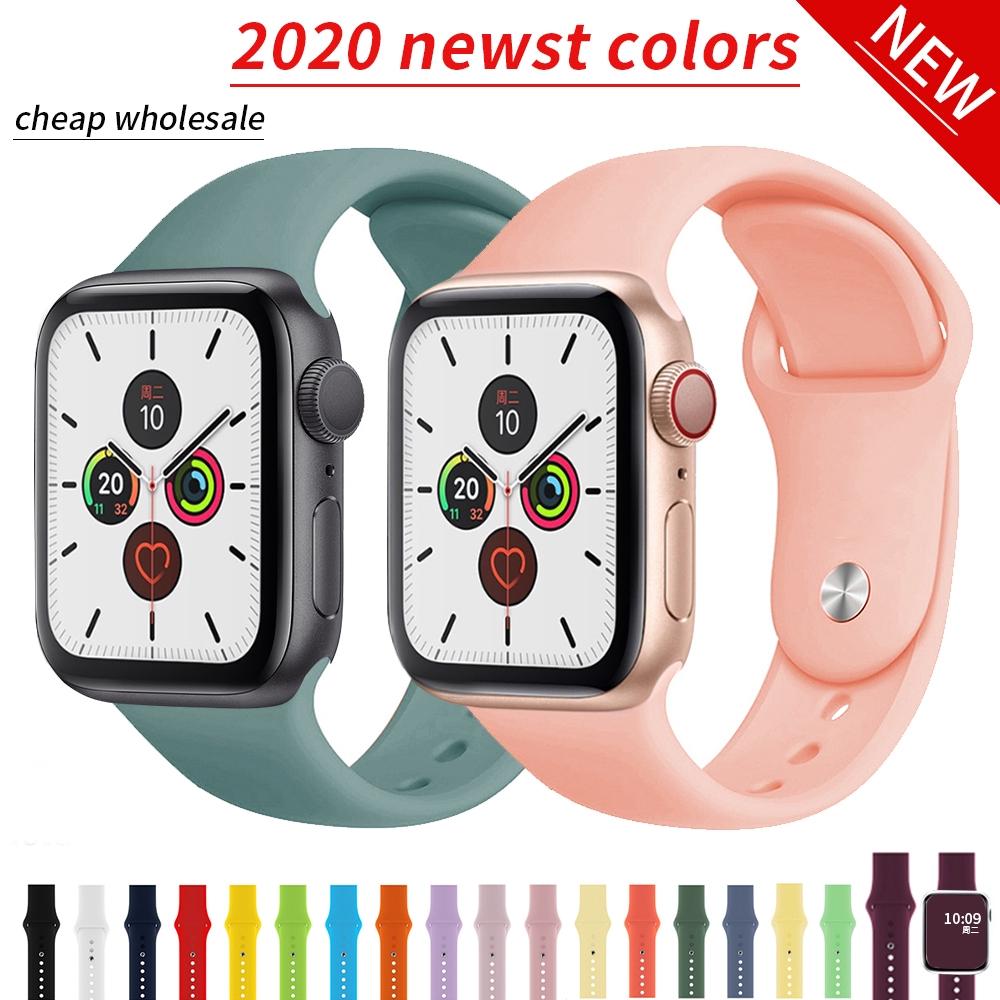2020 สายนาฬิกาข้อมือซิลิโคนสําหรับ Iwatch Band Series 5 4 3 2 1 Apple Watch 38 มม . 42 มม . 40 มม . 44 มม .