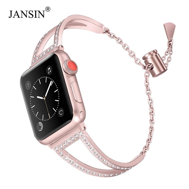 Jansin สายนาฬิกาข้อมือสแตนเลสสําหรับ Apple Watch 38 มม 42 มม 40 มม 44 มม Iwatch Band Series 5 4 3 2 1