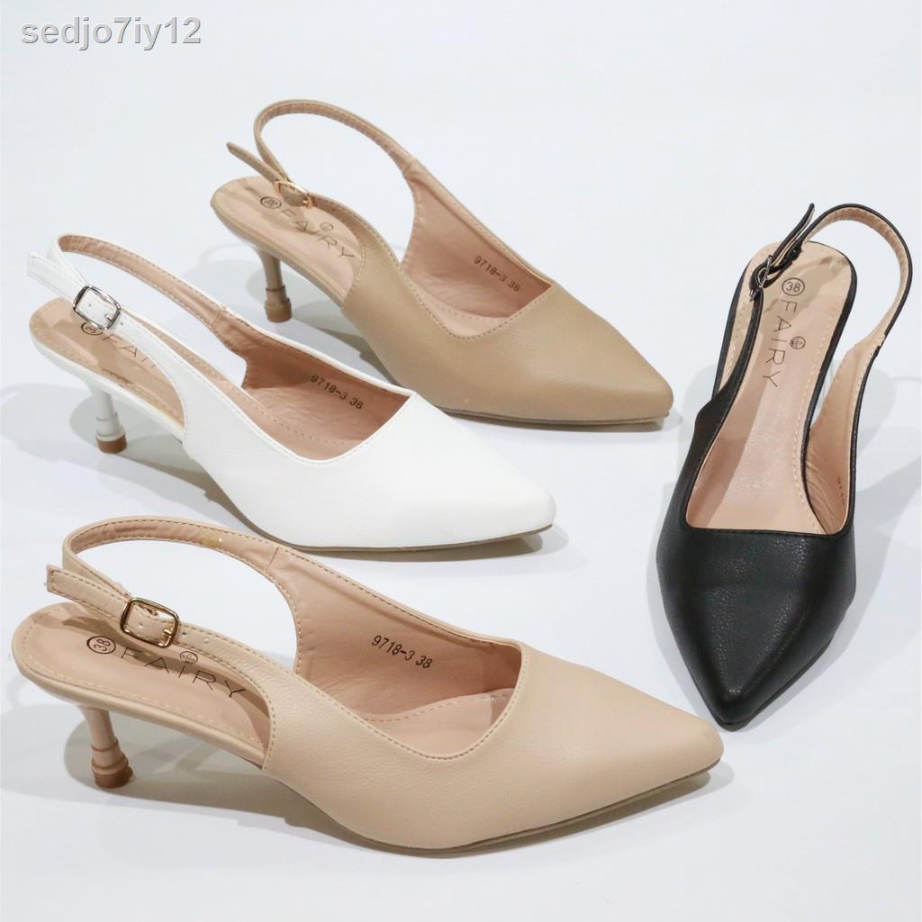 """รองเท้าผู้หญิง9718-3 คัชชูรัดส้นสูง 2.5""""   รองเท้าคัชชูหัวแหลม รองเท้าส้นสูง แฟชั่น FAIRY"""