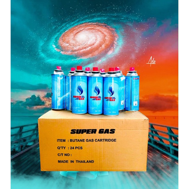 Super Gas แก๊สกระป๋องบิวเทน ขนาด 250กรัม  [⚡ขายราคาส่ง⚡ซื้อยกลัง 📦 1 ลัง : 24 กระป๋อง] Butane Gas Cartridge