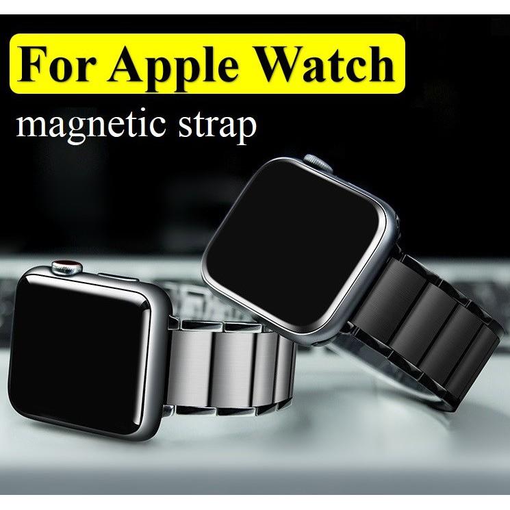 ใหม่ ฟุ่มเฟือย สาย Applewatch เหล็กกล้าไร้สนิม แม่เหล็ก สายนาฬิกา Apple watch Series 6 5 4 3 2 1,Apple Watch SE Strap Lu