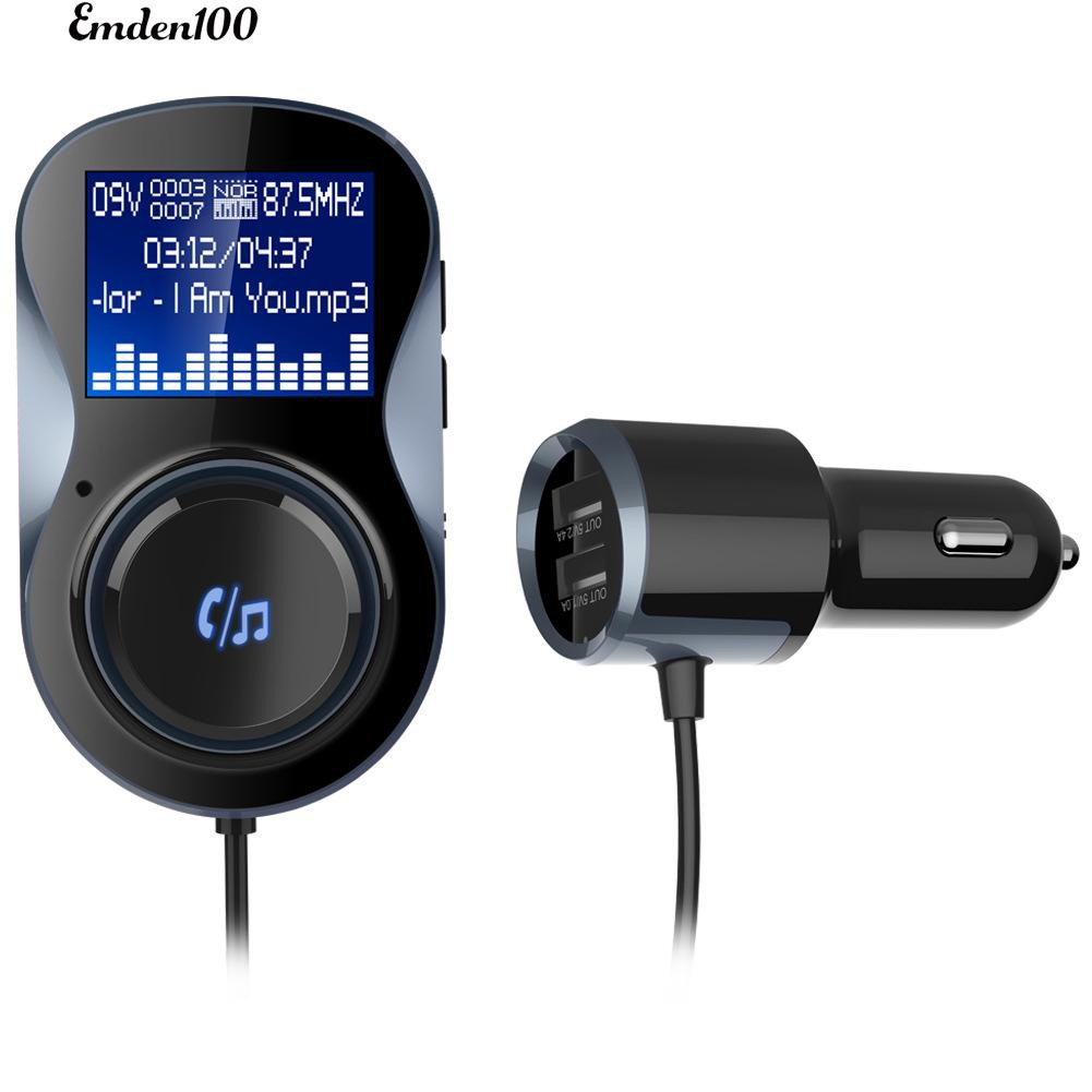 Emden Bluetooth Car Fm Emitter Dual Mp3 5v 34a Phone Charger With Bt20 Usb Wma Audio Transmitter Hands Free Call Support Tf Card Music Pl Slot Shopee Thailand