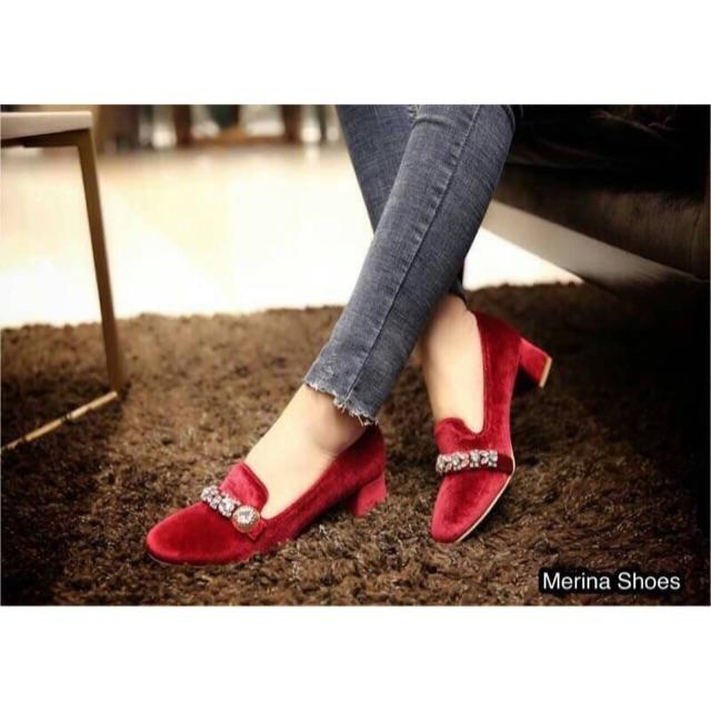 รองเท้าคัชชู (ดำ/แดง)🌸