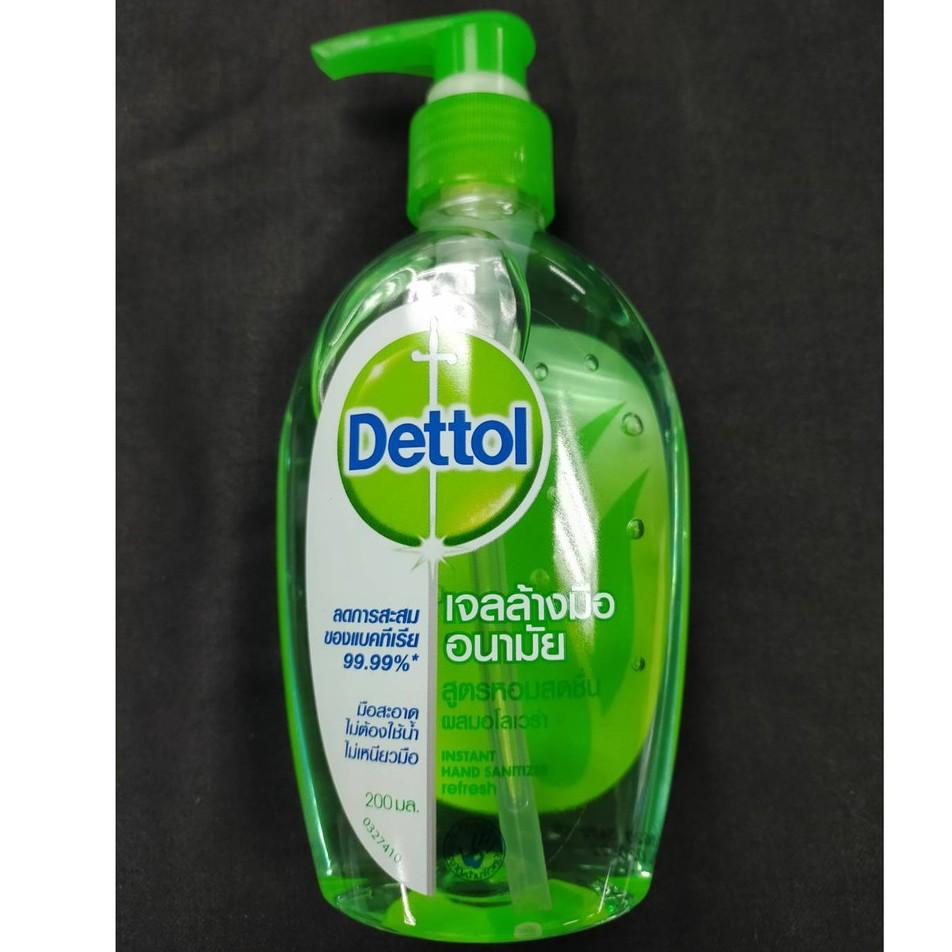 Dettol เจลล้างมืออนามัย รีเฟรช สูตรหอมสดชื่น ลดการสะสมของแบคทีเรีย 99.99% มือสะอาด ไม่ต้องใช้น้ำ ไม่เหนียวมือ 200 มล.