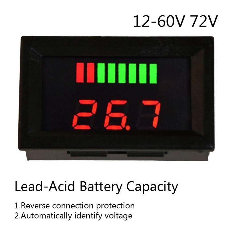 Dual display Voltmeter thermometer digital temperatur 12v 24v 48v 60v 72v car