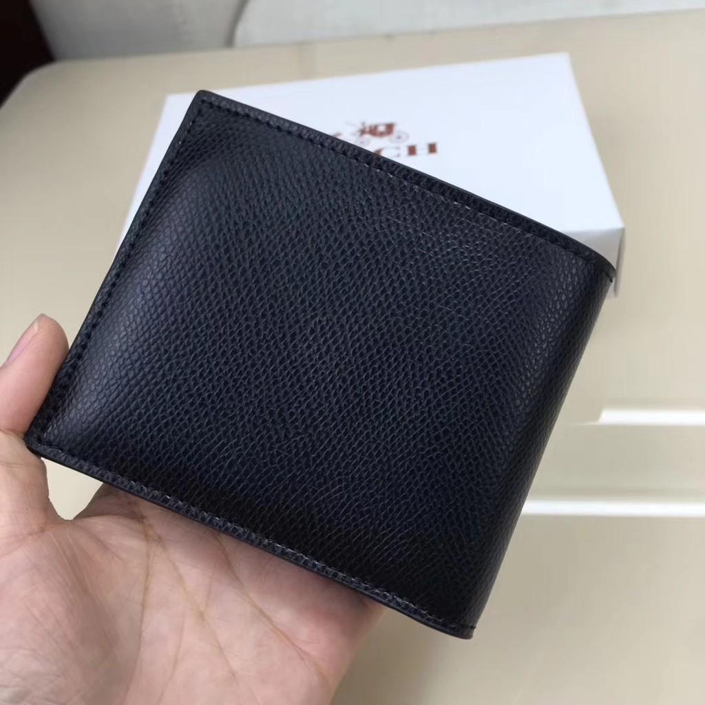 พร้อมส่ง Coach 74974 กระเป๋าสตางค์ใบสั้นผู้ชาย กระเป๋าสตางค์หนัง สีดำ ใหม่ แฟชั่น