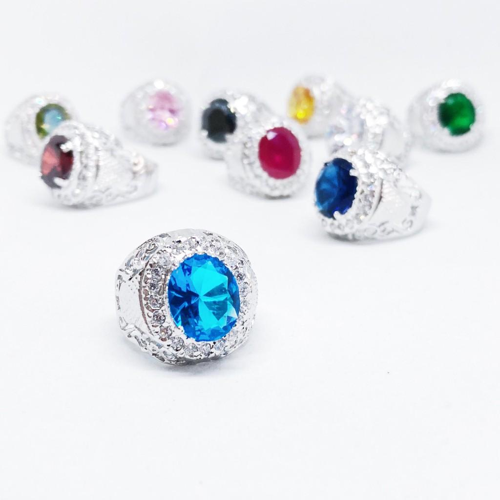 แหวนผู้ชาย พลอยสี ทรงกลม เสริมบารมี ประจำวันเกิด ล้อมเพชร cz ชุบทองคำขาว ราคาพิเศษ