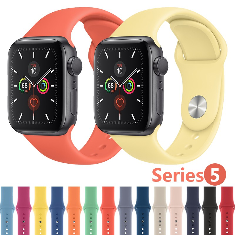 Silicone Strap for Apple Watch Series 5 4 3 2 1 iWatch 38mm 44mm Band Sport Solid Bracelet Rubber Watchband Bands