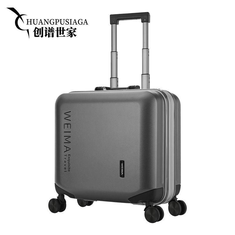 ▤❁✁เคสในห้องโดยสารขนาดเล็ก, กระเป๋าเดินทางขนาด 18 นิ้ว, กระเป๋าเดินทางแบบมีโครงอลูมิเนียม, พีซีแบบล้อสากล, เคสหนังขนาดเล
