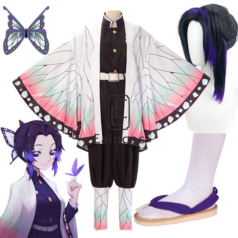 Anime Demon Slayer Kimetsu no Yaiba Kochou Shinobu Cosplay Costume Wig Kimono Halloween Party Women Uniform