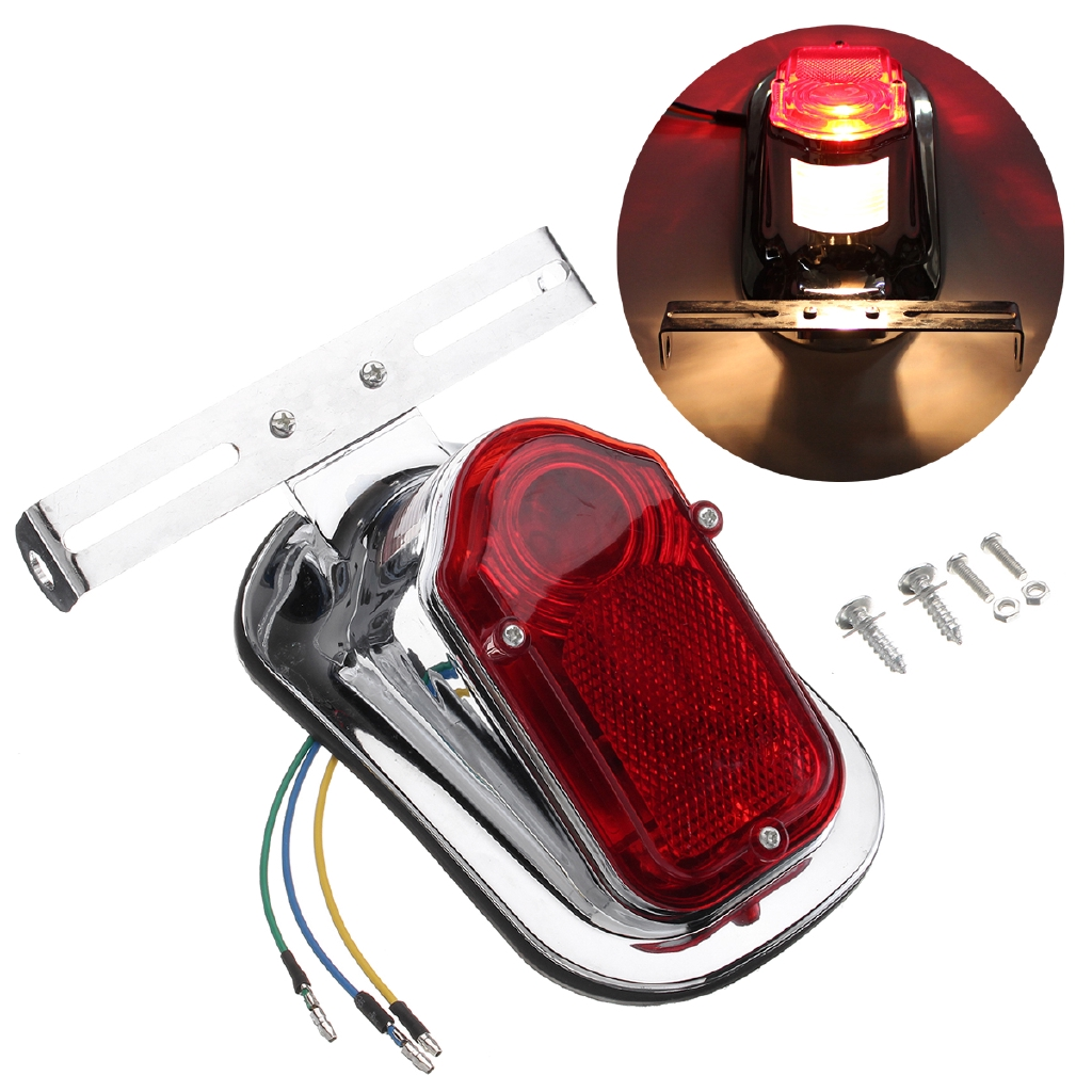 Motorcycle Black Tombstone Taillight Tail Lamp For Harley Softail Bobber Custom