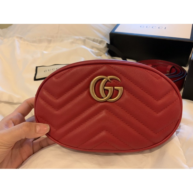 USED LIKE NEW! Gucci Marmont Belt Bag in red