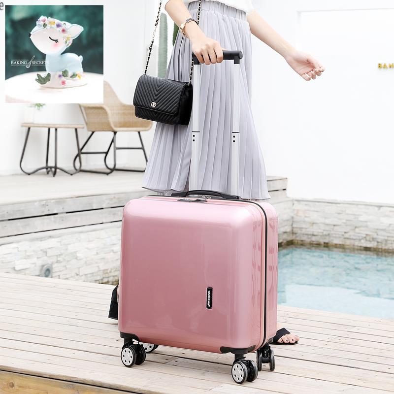 > กระเป๋าเดินทางใบเล็กหญิงน้ำหนักเบา 20 รถเข็นกระเป๋าเดินทางมินิรหัสผ่านกระเป๋าเดินทางชาย 18 นิ้วเวอร์ชั่นเกาหลีสดใหม่แ