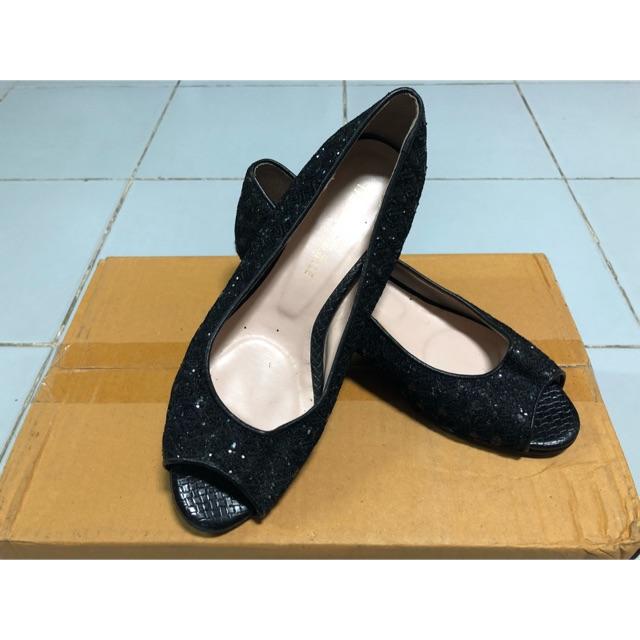 รองเท้าคัชชู ส้นสูงสีดำ กลิตเตอร์ ไซส์ 38