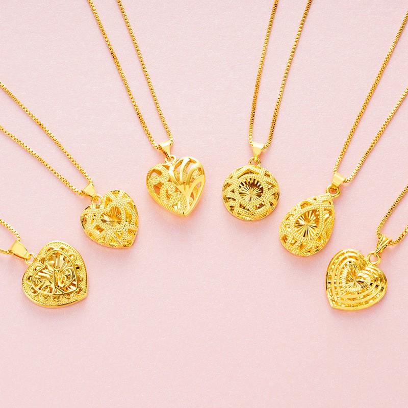 จี้พีชหญิงสร้อยคอทองกลวงรูปหัวใจลดราคาเลียนแบบจี้ทองหล่น