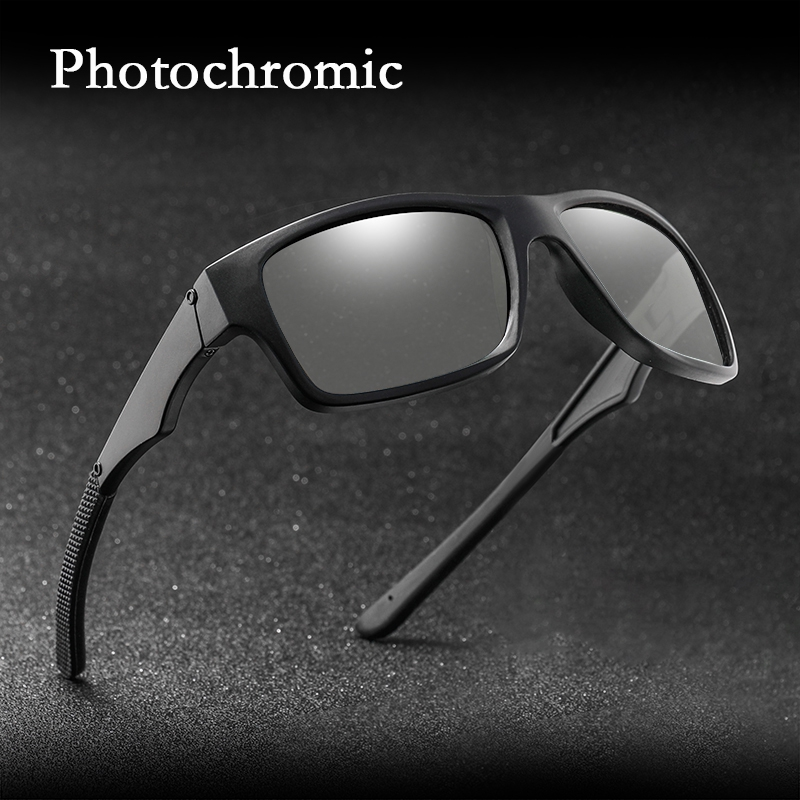 Photochromic Polarized Square Sunglasses Driving Mens Retro Outdoor Glasses
