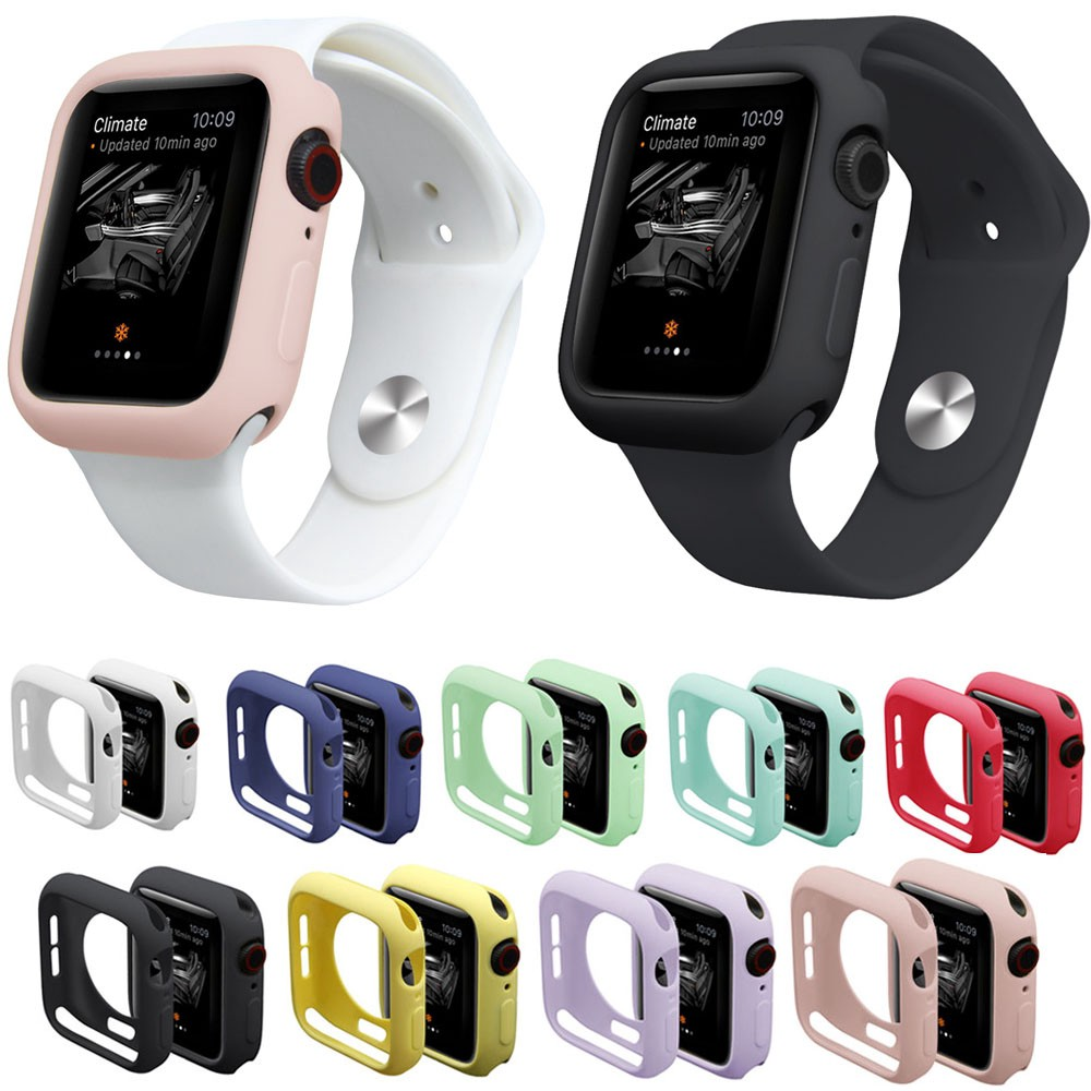 ○₪Silicone case For Apple Watch 6 SE 5 4 40mm 44mm Jelly color soft shell iwatch series 3 2 1 38mm 42mm Cover