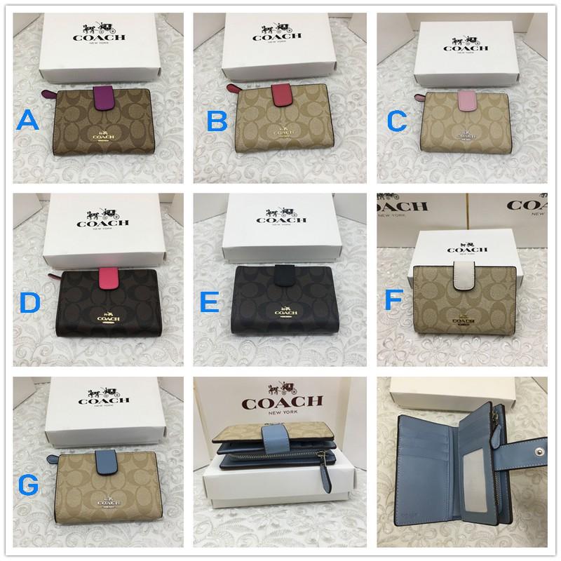 coach แท้ กระเป๋าสตางค์ 53562 ใหม่ กระเป๋าสตางค์ใบสั้นผู้หญิง