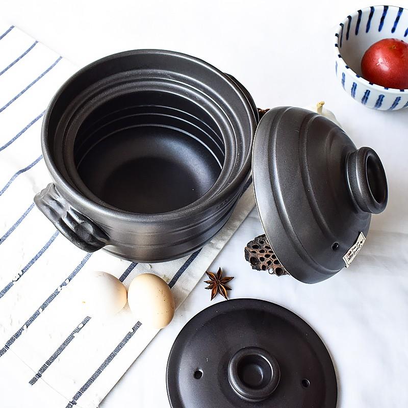 ญี่ปุ่นนำเข้านิรันดร์การเผาไหม้ Huayue Dahei สองฝาเดียวหม้อดินหม้อซุปหม้อข้าวหม้อหุงข้าว