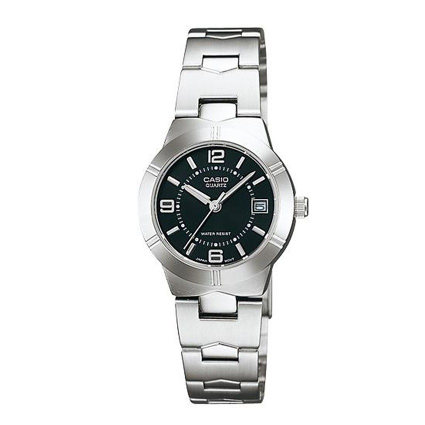 Casio นาฬิกาข้อมือผู้หญิง สายสแตนเลส รุ่น LTP-1241D-1ADF - สีเงิน/ดำ