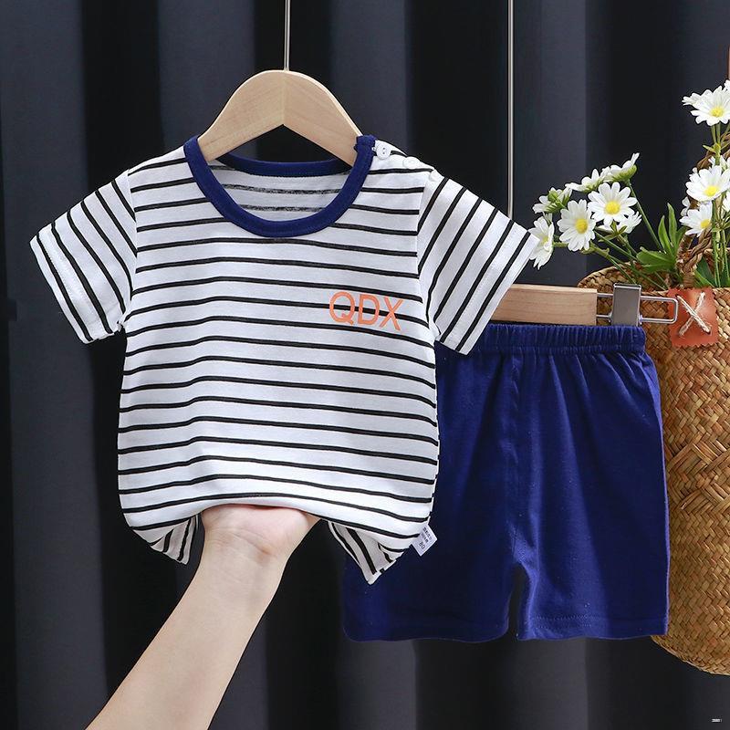 ยางยืดออกกําลังกาย▼(ชุดเด็ก)  ชุดสูทเด็กฝ้ายแขนสั้นเด็กผู้หญิงอายุ 0-8 ปีเสื้อยืดเด็กกางเกงขาสั้นสองชิ้นฤดูร้อนขนาดเล็ก