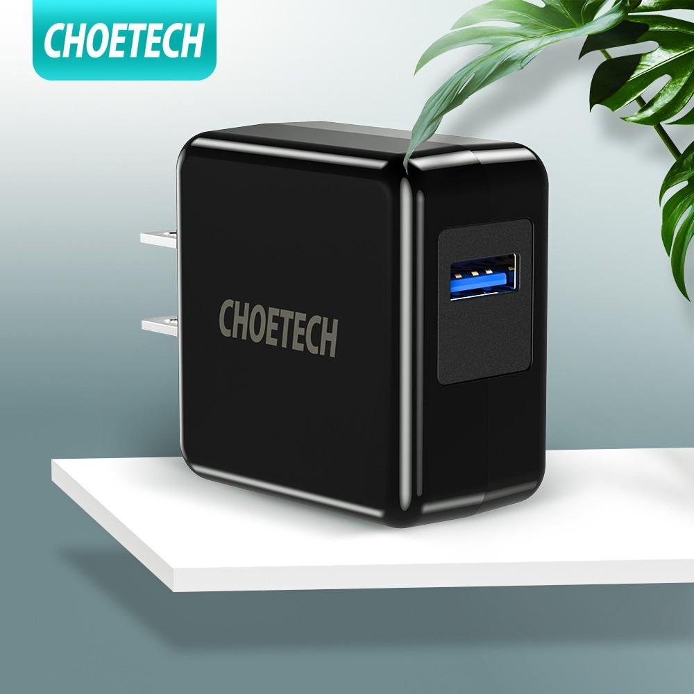 CHOETECH ที่ชาร์จ USB แบบติดผนัง 18W ชาร์จเร็ว 3.0 ได้รับการออกแบบด้วยเทคโนโลยีล่าสุด