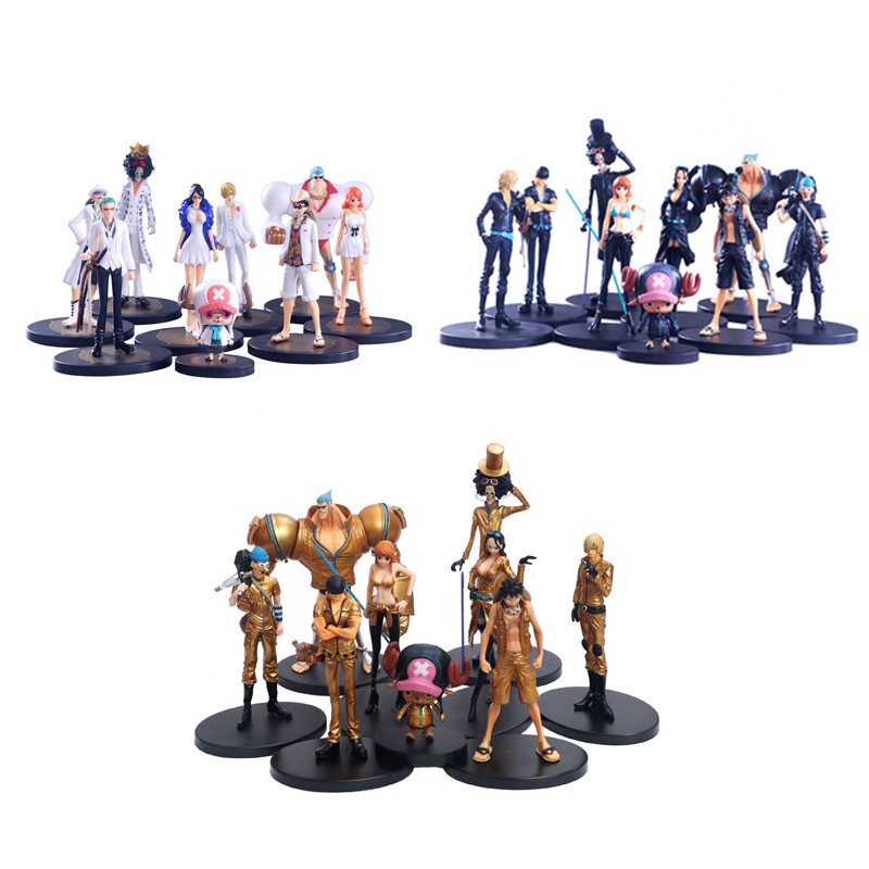 One Piece Theme Doll Toy Straw Hat Gang Full 9PCS/Set PVC FIGURE GARAGE KIT 8~22cm