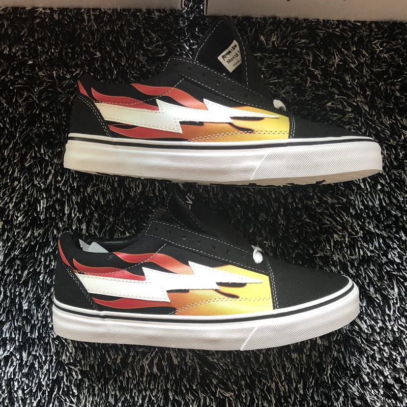 ของแท้ US รุ่น REVENGE X STORM OldSkool Lightning Flame Low-cut Canvas Skateboard Shoes Velcro