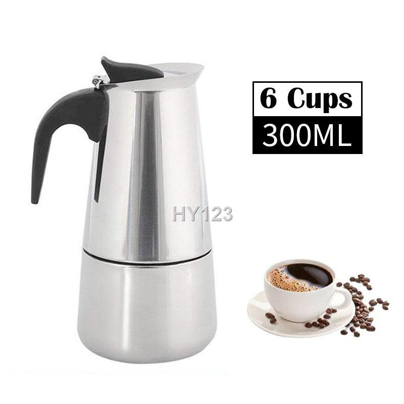 ราคาขายส่ง✜มอคค่าพอท รุ่นสแตนเลส หม้อกาแฟ เครื่องชงกาแฟ แบบพกพา เครื่องทำกาแฟสด เอสเปรสโซ่พอท 300 มล /450 Stainless ste